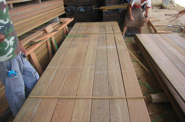 Ipe decking in lumber yard